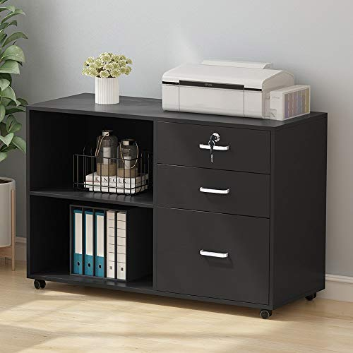 Tribesigns 3 Drawer Wood File Cabinets with Lock, Large Modern Lateral Mobile Filing Cabinets Printer Stand with Wheels, Open Storage Shelves for Home Office(Black with Lock)
