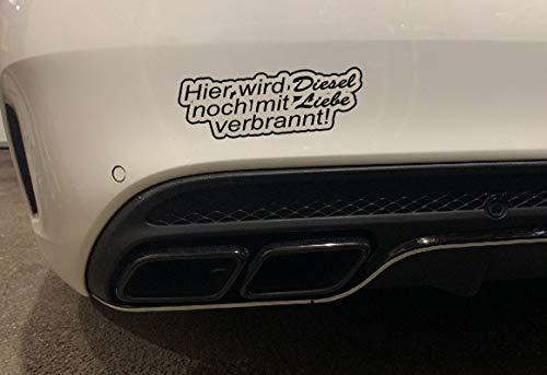 Aufkleber Hier Wird Diesel noch mit Liebe verbrannt Autoaufkleber Umwelt Feinstaub Sticker JDM (Weiß)