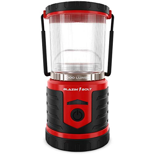 Blazin' LED Lantern Rechargeable for Power Outages  1000 Lumen Light   Massive 12,000 mAh USB Power Bank Phone Charger   6 Modes   350 Hour Runtime   Storm and Blackout (Red)