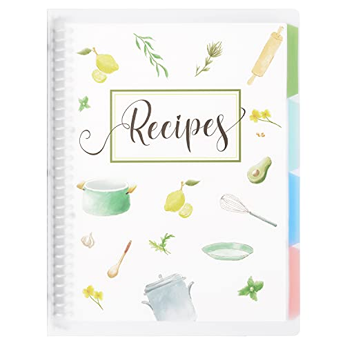 """Recipe Book to Write in Your Own Recipes, 8.5"""" x 11"""" Personal Blank Recipe Notebook, Removable Hardcover Recipe Journal Book Binder with 8 Dividers and 24 Tabs, Hold up to 240 Recipes"""