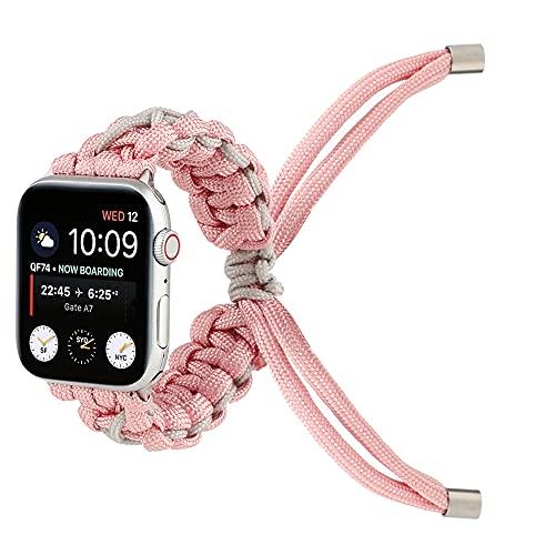 CHENPENG Correa Compatible con Apple Watch Series 1/2/3/4/5/6 Correa de Repuesto Tejida Ajustable Cuerda de Paraguas Correa de muñeca de Repuesto,Rosado,42mm