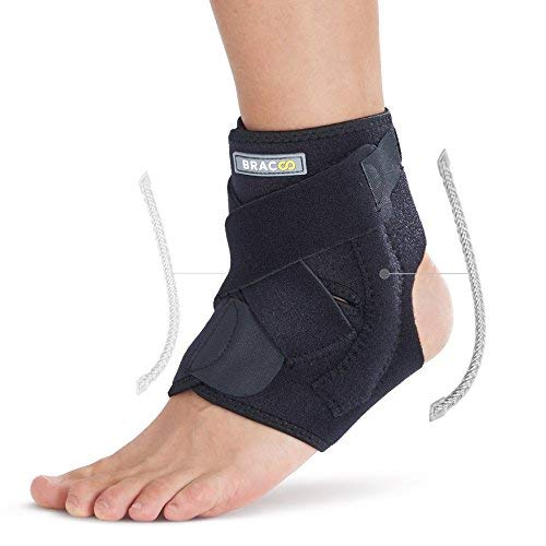 BRACOO FP30 Fußbandage mit Verstärkung - Sprunggelenkbandage - Knöchelbandage - verstellbare Fußgelenkbandage mit Klettverschluss (L/XL)