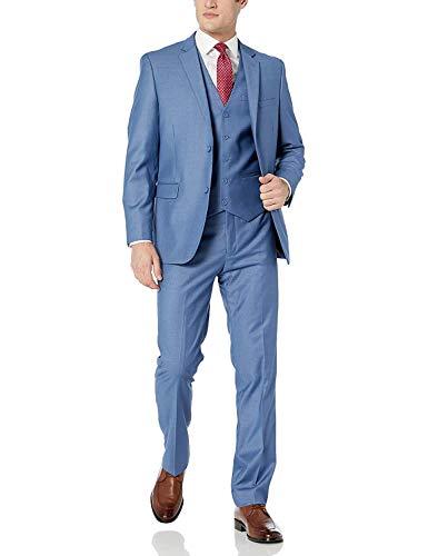 EastSide Men's 3 Pieces Suit, Slim Fit 2 Buttons Tux, Blazer Vest &Pants Jacket Set Deep Blue