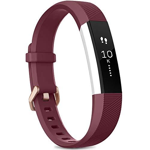 Yandu Correa Compatible con para Fitbit Alta HR/Fitbit Alta, Correa de Reloj para Hombres y Mujeres, Correa Deportiva Ajustable para Fitbit Alta HR/Fitbit Alta (sin Reloj) (Rosso Vino, S)