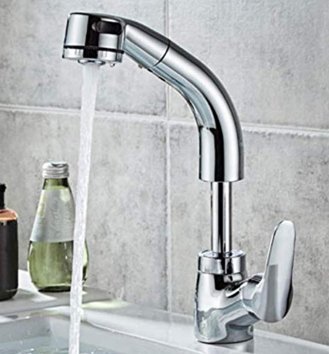 Bathroom Faucet Copper Faucet Pull-Type Washbasin Hot and Cold Basin Sink Lift Telescopic Shampoo Faucet