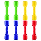 LIOOBO 8pcs Dumbbells Toy Kids Pretend Play Exercise for Children Beginner Gym Workout Weightlifting and Powerlifting