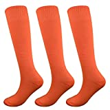 Fitliva Neon Orange Tube Socks for Activity Uniform (3Pack-Orange)