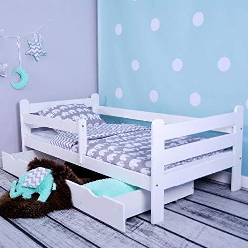 LULU MÖBEL Kinderbett HUGO Komplett - Bett mit Matratze 160x80 Lattenrost und Schublade | für Kinder ab 2 jahren | Mädchen Junge | Jugendbett Juniorbett Kinderzimmer Funktionsbett | Weiß