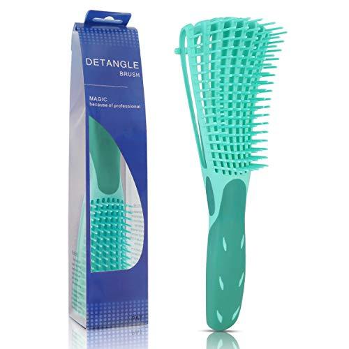 SunshineFace cepillo desenredante para cabello natural - peine desenredador suave para cabello afro 3a a 4c cabello ondulado rizado rizado y grueso - fácil de limpiar y agarrar