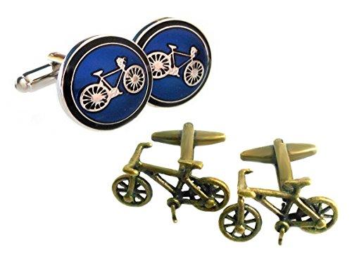 Unbekannt Manschettenknöpfe Fahrrad Messing und Blau Schwarz Silbern 2 Paare + Geschenkboxen