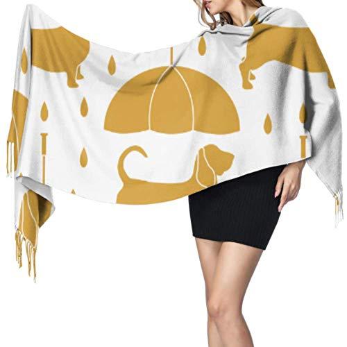 8bayfa, hondenparaplu, grote dieren, lichte sjaal voor vrouwen met strepen, sjaal 77 x 27/192 x 68 cm, grote zachte Pashmina-sjaal