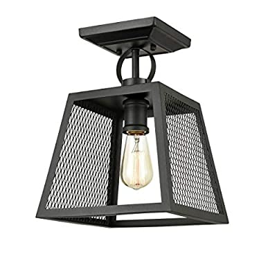 Industrial Matte Black Semi Flush Mount Ceiling Light Square Foyer Ceiling Fixture