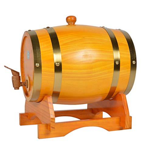 Barril de Roble Toneles de Vino Barril de Madera Barril de Roble de 5L, Barriles de Madera Maciza de Estilo Vintage con Revestimiento de Papel de Aluminio Incorporado Whisky Vino Cerveza Puerto