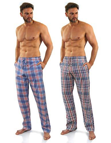 Sesto Senso Pantalones Largos de Pijama Hombre Algodón Pantalón de Dormir Cuadros Estampado Escocés L 7+9