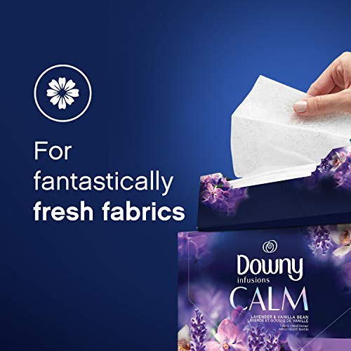 Downy Infusions Fabric Softener Dryer Sheets, Calm, Lavender & Vanilla Bean, 105 count
