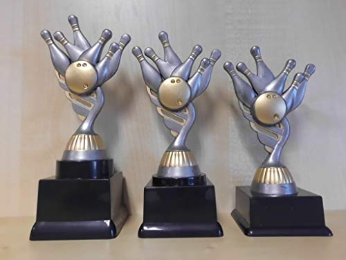 Fanshop Lünen Bowling - Bowlen - Pokale 3er Serie - Sieger - Turnier - Kids - Trophäe - Geburtstag - (Gold/Silber) - Figur - Pokal - mit Gravur - (pf211) -