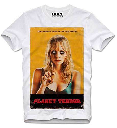 DOPEHOUSE T-Shirt Planet Terror Death Proof Stuntman Mike Tarantino Grindhouse Cult Kultfilm Rodriguez Movie XL White