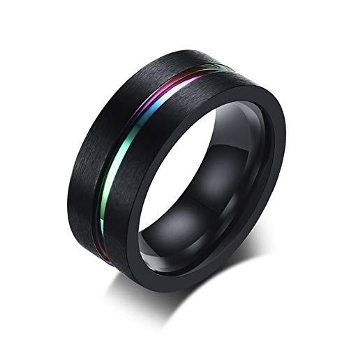YDMZMS Herren-Ring, abgeschrägt, Blau, geriffelt, Edelstahl, Hochzeitsband, 8 mm, passgenau, Schmuck für Männer, Regenbogenschwarz, 8