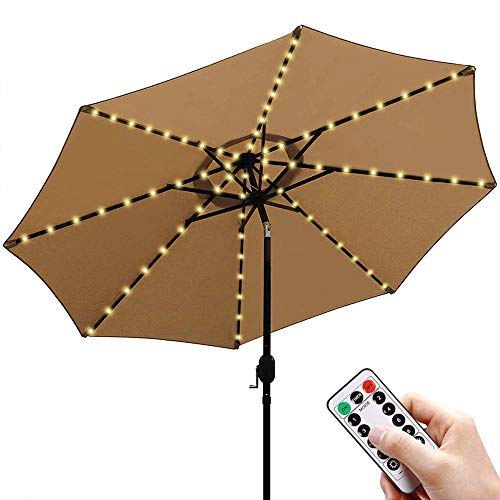 Sonnenschirm Lichterkette Warmweiß LED Lichtbänder mit Fernbedienung 8 Modi Timer, Sonnenschirm Lichter 104 Leds Beleuchtung Regenschirm Balkonschirm Dekoration für Außenleuchten