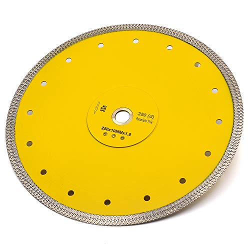 10 Inch Supper Thin Wet Diamond Porcelain Saw Blade Tile Blade for Dry or Wet Cutting Porcelain Tiles Granite Marbles
