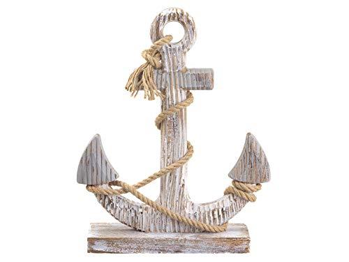 Cepewa Vintage Deko Anker weiß mit Tau Maritim Holz 26x40 cm Meer Schiff