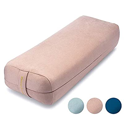 Ajna Yoga Bolster Pillow for Meditation and Support - Rectangular Yoga Cushion - Yoga Accessories from Machine Washable with Carry Handle - Rose Quartz