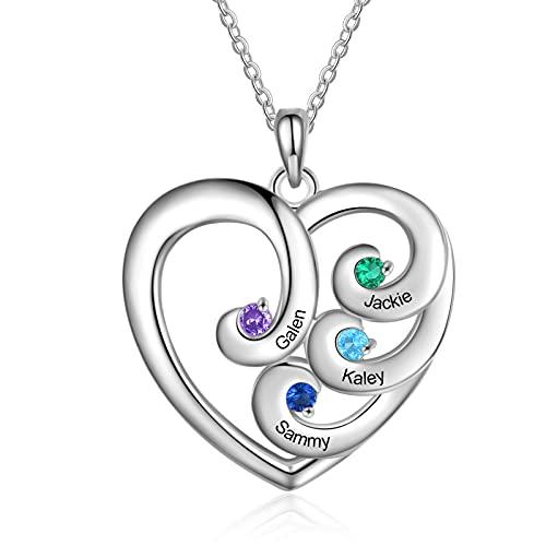 Personalisierter Name Halskette Damen Silber Herz Anhänger mit 4 Name Gravur Mutter Tochter Kette Geschenk für Muttertag Valentinstag Weihnachten