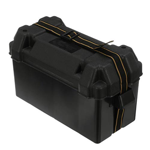 attwood 9084-1 Large 29/31 Series Vented Marine Boat Battery Box with Mounting Kit and Strap, Black, Black, One Size (9084-1)
