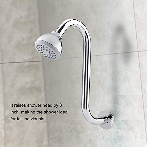 Braccio per soffione doccia da 8 pollici, braccio di prolunga per doccia a forma di S in acciaio inossidabile per bagno dell\'hotel domestico