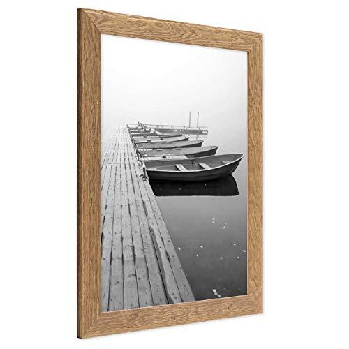 PHOTOLINI Bilderrahmen 30x42 cm/DIN A3 Strandhaus Rustikal Eiche-Optik Natur Massivholz mit Glasscheibe inkl. Zubehör/Fotorahmen