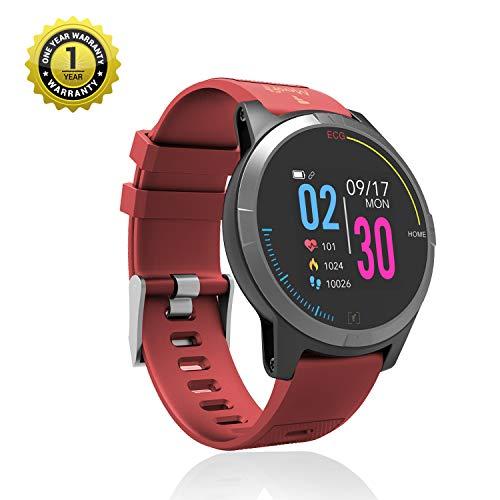 MevoFit Race-Thrust ECG-Smart-Watch for Fitness & Health PRO Sporty-Health-ECG-Smart-Watch, All Activity Tracking (Red)