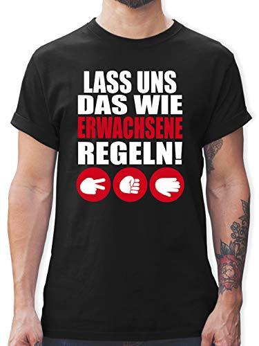 Sprüche - Lass Uns das wie Erwachsene Regeln Schere Stein Papier weiß - S - Schwarz - Schere Stein Papier Tshirt - L190 - Tshirt Herren und Männer T-Shirts
