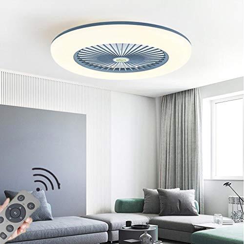 Ventilador De Luz De Techo LED Moderno Nórdico Lámpara De Techo Ventilador Invisible Ultradelgado 32W Araña De Ventilador Velocidad Del Viento Ajustable Dormitorio Sala Iluminación (Ø55cm),Gris