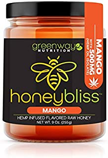 Honeybliss – Mango Flavored Raw Clover Honey with 1000mg Hemp Extract - 9oz Glass Jar | 100% Pure, Unfiltered Raw Honey In...