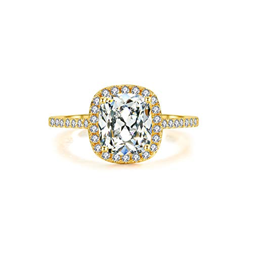 BeFab 2.25 Ct Cushion Cut Anniversary Ring Cubic Zirconia Accented Halo Engagement Ring gold