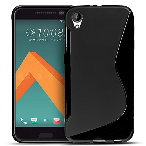 Conie SC5967 S Line Hülle Kompatibel mit HTC Desire 825, TPU Smartphone Hülle Transparent Matt rutschfeste Oberfläche für Desire 825 Rückseite Design Schwarz