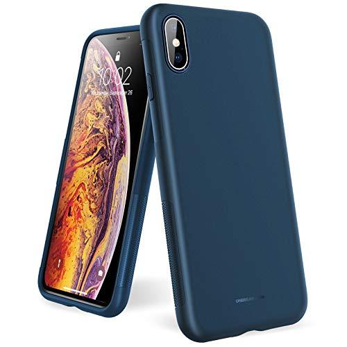 """UNBREAKcable Coque de Protection pour iPhone X XS 10 (5,8"""") - [ Antichoc & Antidérapante ] Coque Souple en Silicone givré pour iPhone X XS 10, Revêtement Anti-Empreintes Digitales - Bleu Mat"""