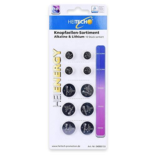HEITECH 10er Pack Alkaline & Lithium Knopfzellen Batterie TÜV geprüft - 4× AG13 (LR44) / 2× CR2025 / 4× CR2032-1,5V & 3V Knopfbatterien auslaufsicher & mit Langer Haltbarkeit