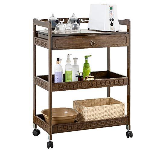 Servicio torre de la compra Isla de cocina de microondas del horno Blanco Cesta con espacio de almacenamiento Con Ruedas en el comedor Carro de almacenamiento ( Color : Coffee , Size : 59x33x83cm )