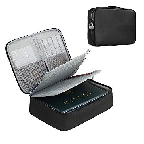 Baona Funda organizadora de documentos de piel sintética, con tres capas de papel, con cerradura de combinación, resistente al agua, color negro