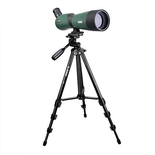 Svbony SV403 Telescopio Terrestre 20-60x60 Amplio Campo de Visión Telescopio Monocular con Trípode FMC Óptica Prisma Porro Spotting Scope para Observación de Aves Tiro con Arco