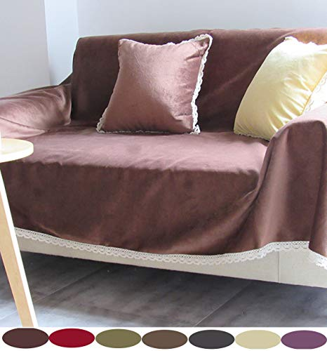 Plush Sofa Covers 1 2 3 4 Seater Throw Sofa Furniture Protector Couch Cover Polyester Universal Four Seasons Slipcover Sectional Corner Couch Cover Anti-Slip Antidust for Kids, Pets,brown,150x210cm