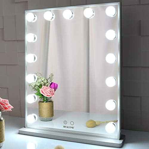 BEAUTME Hollywood Makeup Vanity Mirror with Lights,Bedroom Lighted Standing Tabletop Mirror,LED Cosmetic Beauty Tabletop Mirror with 15 Dimmable Bulbs, Wall Mounted Lighting Mirror (Silver)
