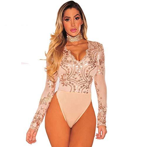 JJHR Bodysuit Bodycon Body mit tiefem V-Ausschnitt für Damen. Langärmliger Jumpsuit-Body-Gold_M