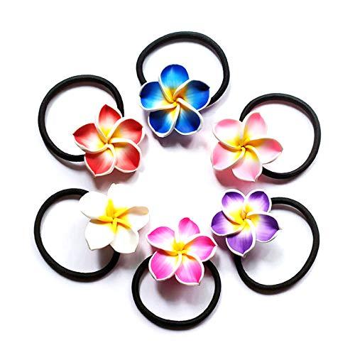 JOLROL Blume Haargummis Haarschmuck Hawaii Blumen Elastische Pferdeschwanz Niedliche Bunte Elastische Haarbänder Plumeria Hawaiian Frangipani Elastische Haar Ring Gemischter Farbe