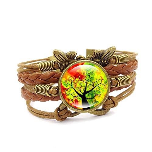 Pulsera de estilo europeo estilo retro joyería árbol de la vida vidrio piedra piedra preciosa par pulsera hecha a mano cuero tejido multicapa pulsera adecuado para hombres/mujeres