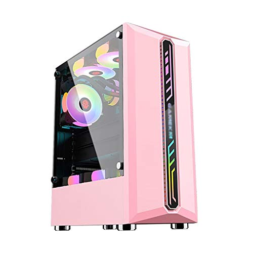 HDYD Gaming Case,ATX Mid-Tower PC Gaming Case - Front I/O USB 3.0 Port - Acrylic Glass Side Panel - Cable Management System - Water-Cooling Ready (Color : Pink)