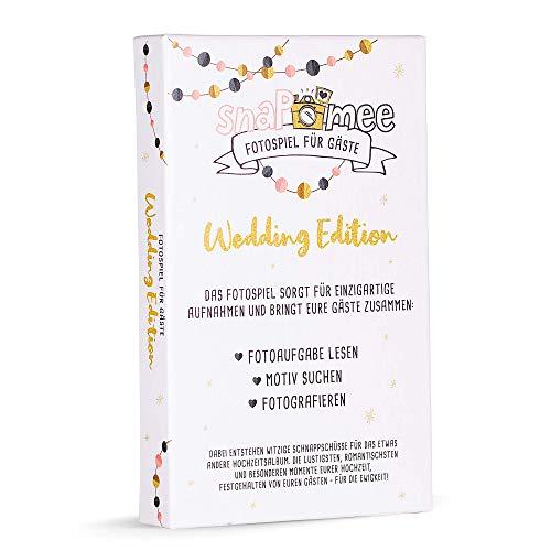 Fotospiel snaPmee Hochzeitsedition Kartenbox mit 50 kreativen Fotoaufgaben (Hochzeitsspiel für Gäste & Brautpaar) Lustige Hochzeitsbilder & Konstellationen garantiert - Eisbrecher für Jede Hochzeit!