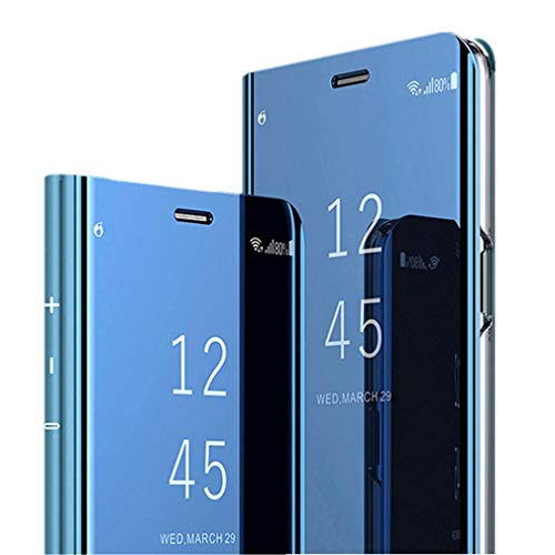 Elegante Hülle kompatibel mit Sony Xperia XZ,reflektierende Schutzhülle PU-Leder Flip Handy Case mit Standfunktion case für Sony Xperia XZ (Blau)