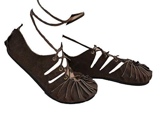 Sandalen Damen Bollywood Strand Urlaub Hippie Ethnic Party Römer Herbst Yoga Sandaletten Frühling Sommer Mädchen Frauen Mittelalter Schnürsandalen schnüren Sandals Unisex (37, Dark Brown)